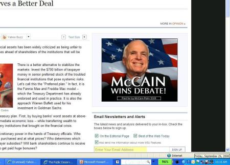 McCain declares himself a winner in the debate that hasn't happened yet!