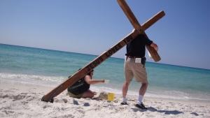 """""""Jesus saves!"""" says Jesus' Stunt Double.  """"Nice to know,"""" says Kat."""